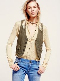 Free People  Menswear Cotton Vest in Army Olive at Free People