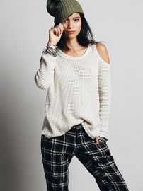 Free People  Sunset Open Shoulder Pullover in Cream at Free People