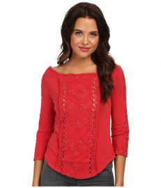 Free People  Truly Madly Lace Top in Red at Free People