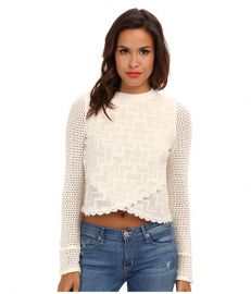 Free People Antoinette LS Top Oatmeal at Zappos