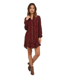 Free People Button Down Shirt Dress Cranberry Combo at 6pm
