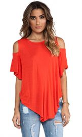 Free People Cold Shoulder Seamed Top in Bright Red from Revolve com at Revolve
