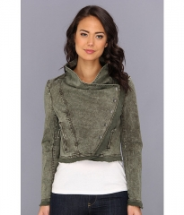 Free People Collapsing Twill Snap Jacket Military at Zappos