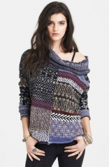 Free People Cowl Neck Patchwork Sweater at Nordstrom