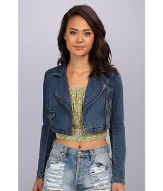 Free People Cropped Moto Jacket James Dean Wash at 6pm