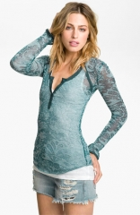 Free People Damask Burnout Henley at Nordstrom