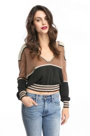 Free People Deep V Gold Dust Lurex Pullover Sweater at South Moon Under