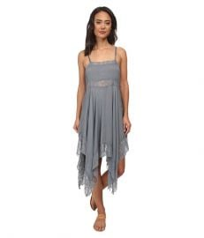Free People Dobby Dot andamp Lace Pieced Trapeze Slip Vapor Blue at Zappos