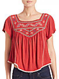 Free People Embroidered Muse Tee at Saks Fifth Avenue