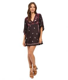 Free People Embroidered Tulum Mini Dress Black Combo at Zappos