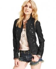 Free People Faux-Leather Military Jacket - Coats - Women - Macys at Macys
