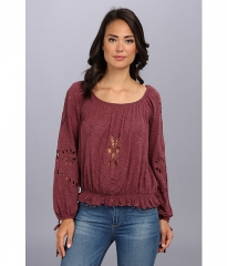 Free People Fpx Jewel Blouse  Dark Berry at Zappos