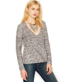 Free People Gotham Long-Sleeve Faux-Wrap Sweater at Macys