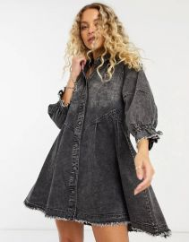 Free People Hannah denim mini dress in black at ASOS