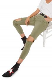 Free People High Rise Busted Knee Skinny Jeans  Moss at Nordstrom