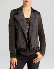 Free People Jacket - Rugged Pieced Faux Leather Trim Moto at Bloomingdales