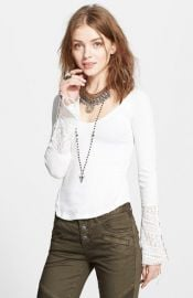 Free People Juliet Lace Cuff Thermal Top in White at Nordstrom