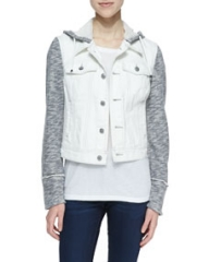 Free People Knit Hooded Denim Jacket at Neiman Marcus