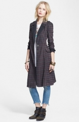 Free People Lace Trim Plaid Duster Jacket at Nordstrom