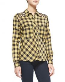 Free People Lace-Up Plaid Crepe Blouse Yellow at Neiman Marcus