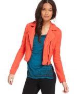 Free People Linen moto jacket in cherry at Macys at Macys