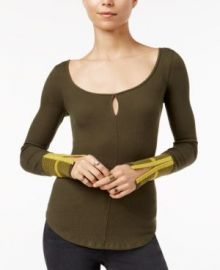 Free People Mod Striped-Cuff Top green at Macys