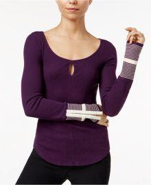 Free People Mod Striped-Cuff Top in Purple at Macys
