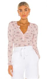 Free People One of The Girls Printed Henley in Light Pink Combo from Revolve com at Revolve