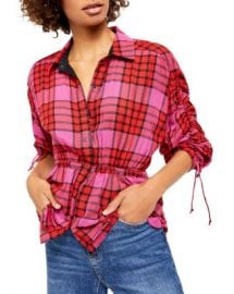 Free People Pacific Dawn Drawstring Plaid Shirt Women - Bloomingdale s at Bloomingdales