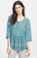 Free People Pennies Sequaland Embroidered Top at Nordstrom