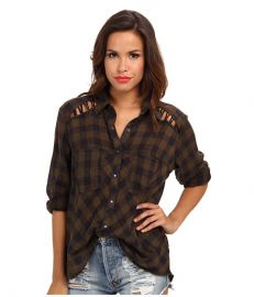 Free People Plaid Lace Up Button-Down at Zappos