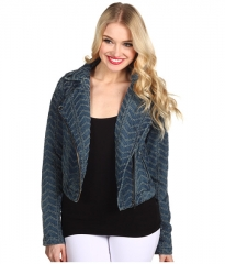 Free People Punched Moto Jacket  Chevy Blue at 6pm