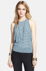 Free People Sedwick Stripe Cutaway Tank in blue at Nordstrom