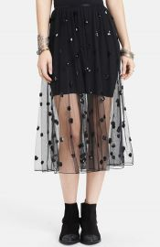 Free People Sequin Polka Dot Mesh Skirt at Nordstrom