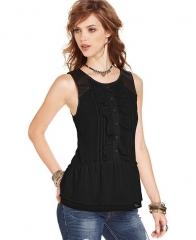 Free People Sleeveless Scoop-Neck Tuxedo Top in black at Macys