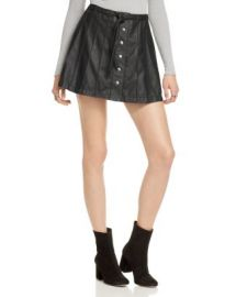 Free People Snap Front Faux Leather Skirt at Bloomingdales