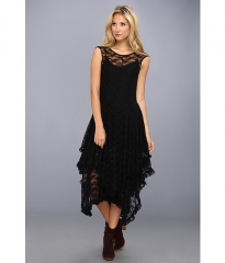 Free People Stretch Lace French Court Slip Dress Black at Zappos