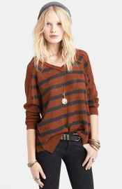 Free People Stripe Pointelle Dolman Sleeve Sweater in Henna at Nordstrom