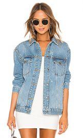 Free People Studded Denim Trucker Jacket in Blue from Revolve com at Revolve