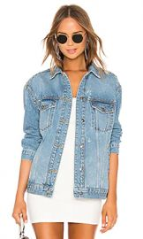 Free People Studded Denim Trucker Jacket in Blue from Revolve com at Revolve
