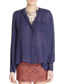 Free People The Best Button Down Shirt in Navy at Bloomingdales