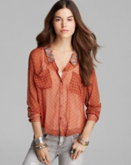 Free People Top - Printed Easy Rider Button Down at Bloomingdales