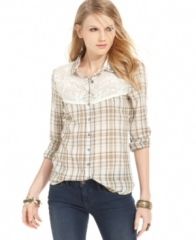 Free People Top Long-Sleeve Lace Plaid Blouse  in ivory at Macys
