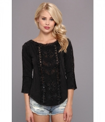 Free People Truly Madly Lace Top Black at 6pm