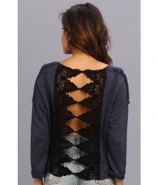 Free People Victorian Lace Pullover Indigo Heather at 6pm