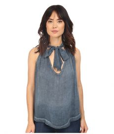 Free People Washed Tuck In Shirt Blue at Zappos