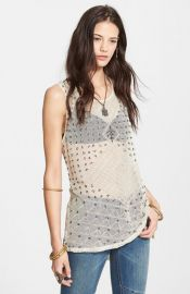 Free People and39Anjaniand39 Embellished Mesh andamp Linen Tank at Nordstrom
