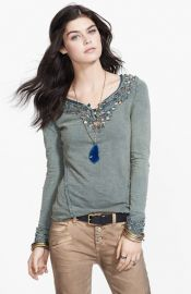 Free People and39Blue Lunaand39 Embroidered Cutout Top at Nordstrom