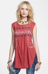 Free People and39Reckless Abandonand39 Embroidered Tunic Top in Clay at Nordstrom
