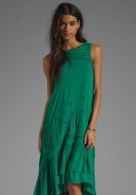 Free People green tiered crochet dress at Revolve